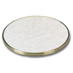 Round Carrera White Marble-look Top (brass edge)