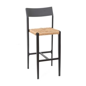 Atom Aluminum Bar Stool Stacking indoor/outdoor Black Frame with Rope Seat