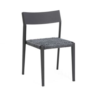 Atom Aluminum Chair Stacking indoor/outdoor Black Frame with Rope Seat-Tan