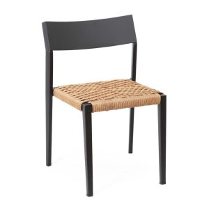 Atom Aluminum Chair Stacking indoor/outdoor Black Frame with Rope Seat