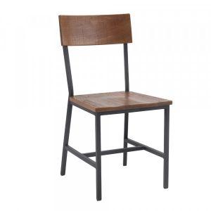 Benson Wooden Industrial Metal Chair -Cherry