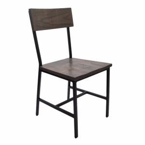 Benson Wooden Industrial Metal Chair