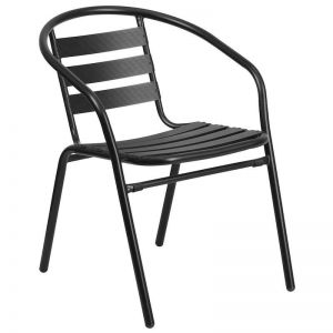 Lightweight Aluminum Slatted Stacking Chair (black)