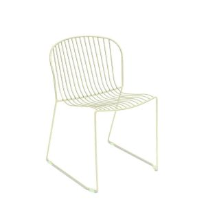 Bolonia Side Chair Wired Mesh Steel Outdoor Chair-Off-white