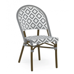 Diamond Back Bistro Chair Aluminum Bamboo-Grey