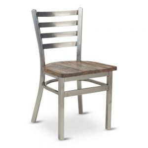Metal Ladderback Distressed Reclaimed wood seat