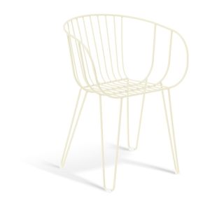 Olivia Arm Chair Wired Mesh Steel Modern Outdoor Chair-Off-white