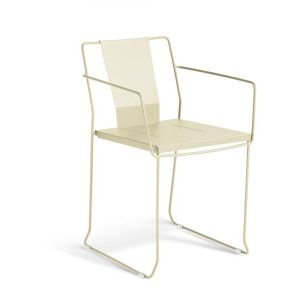 Palamos Tank Steel Outdoor Chair -Off-white
