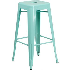 Sentinel Backless Powder coated Steel Bar stool - Outdoor-Mint