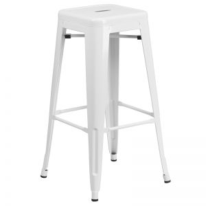 Sentinel Backless Powder coated Steel Bar stool - Outdoor-white