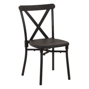 Aluminum Frame Hard Resin X-back Stacking Chair-Black