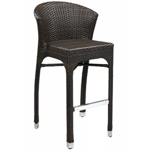 Wicker Round Back Bar stool Brown